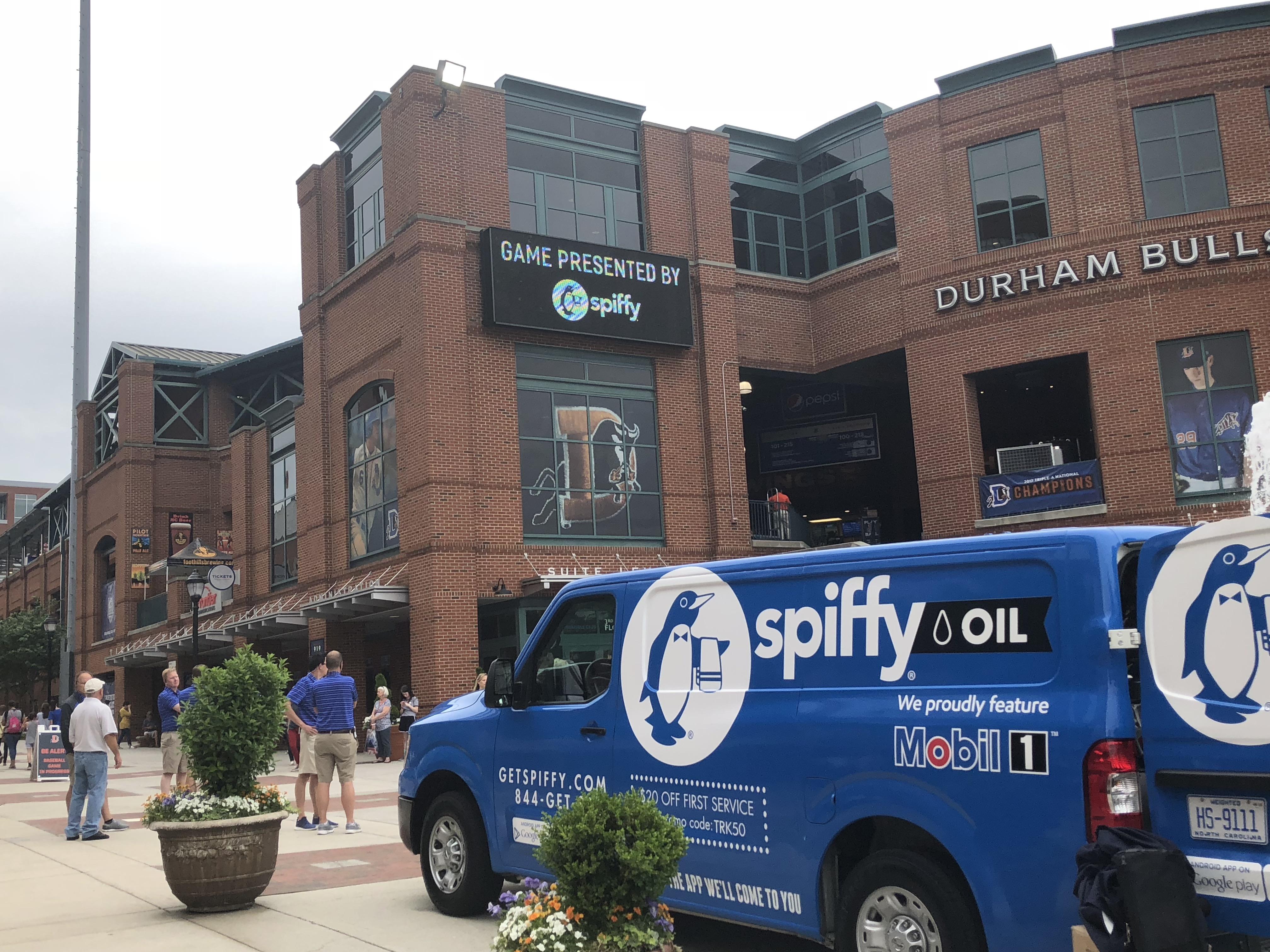Spiffy Mobil1 outside Durham Bulls Athletic Park