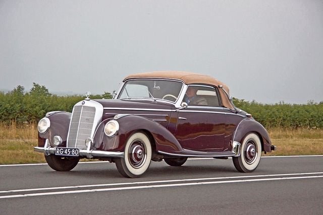 A classic, convertible Mercedes-Benz luxury car
