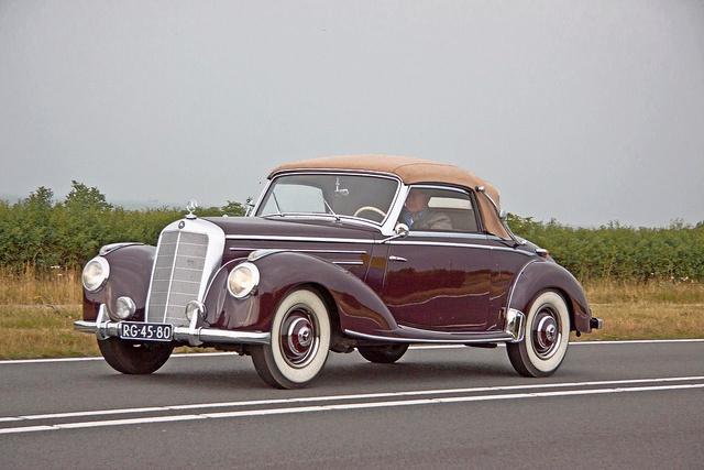 A classic, convertible Mercedes-Benz luxury car