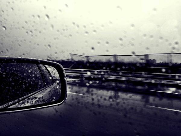 Rainy car preparing for hurricane