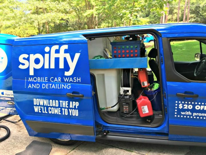 The Spiffy mobile van at a client site