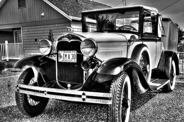 A black and white stylish vintage car
