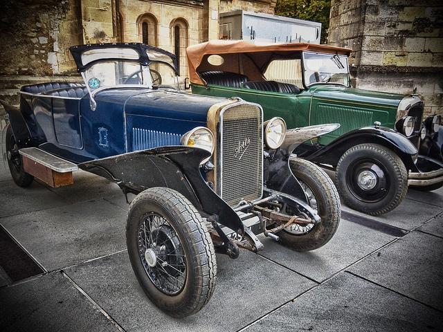 Vintage cars side by side