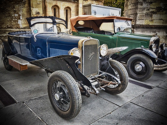 Vintage cars side by side