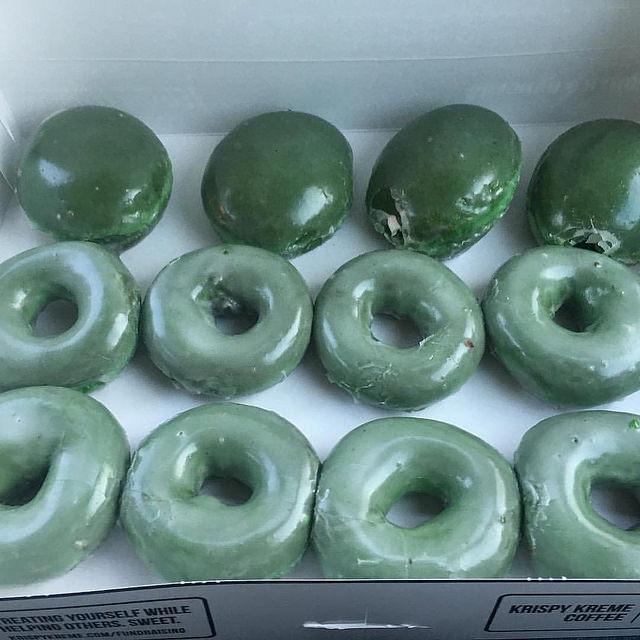 Green glazed donut from Krispy Kreme
