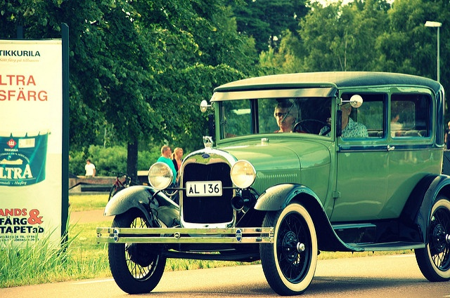 A cool vintage car in green