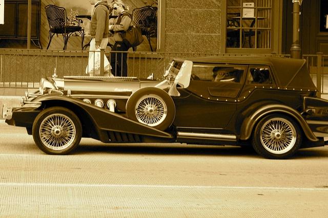 Sepia tinted vintage car