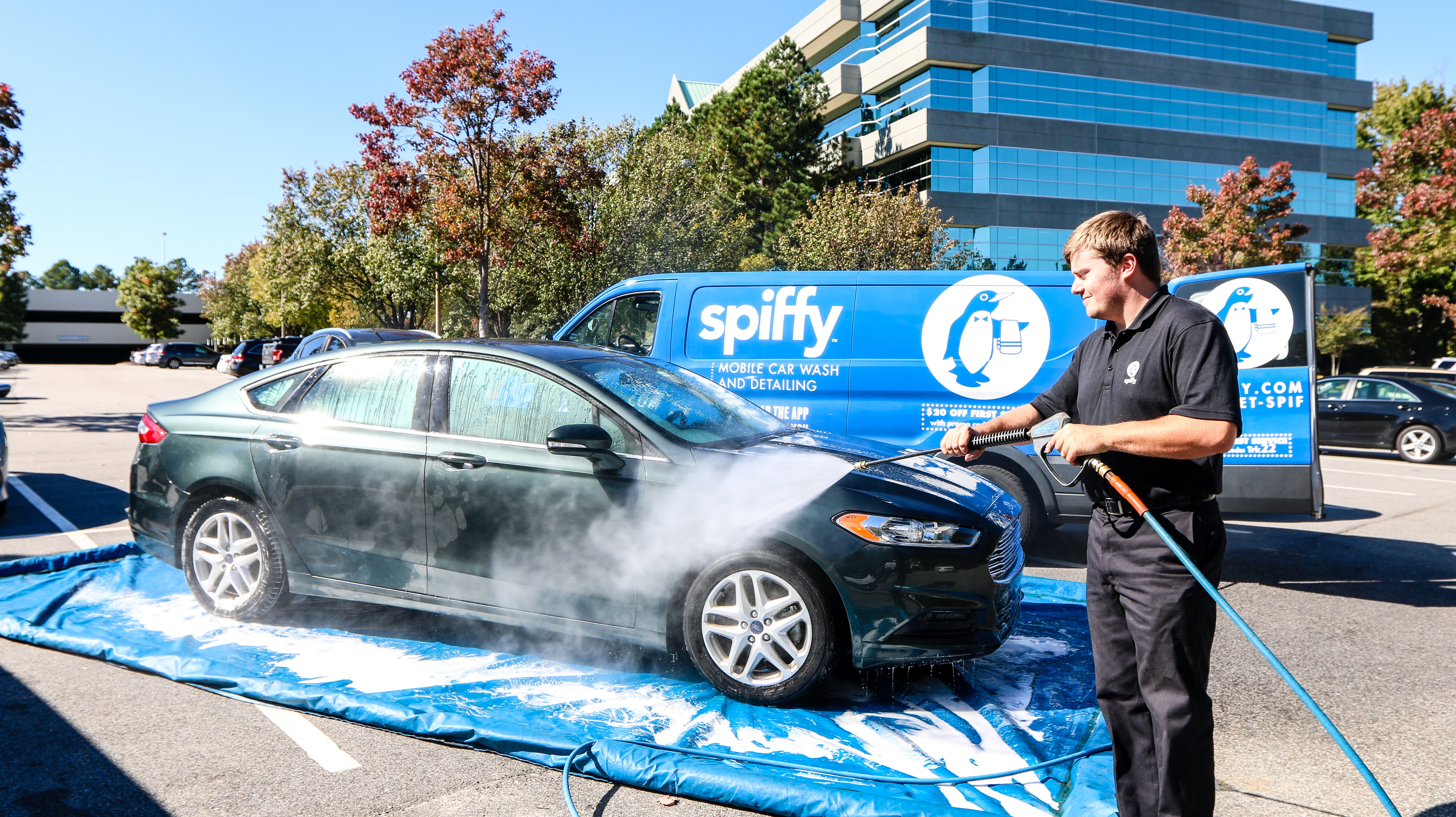 Spiffy mobile car wash and detailing reclaim mat
